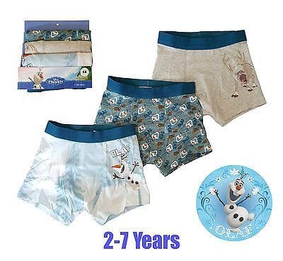 Boys Frozen Olaf Sven Boxers Pants Briefs Kids Underwear 3 PACK Character Disney