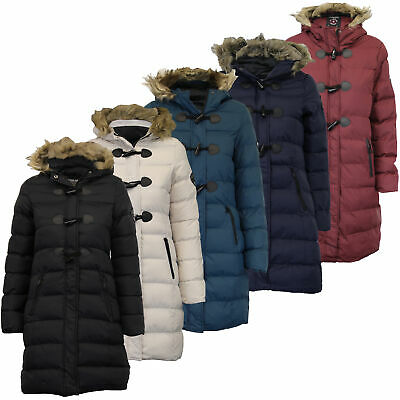 Ladies Long Parka Bubble Jacket Brave Soul Womens Coat Padded Hooded Fur  Quilted 9f6d45baee8