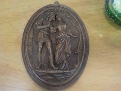Antique Carved Wooden Wall Mounted Plaque Courting Couple Romantic  Plaque