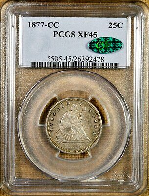 1877-CC PCGS XF45 Seated Quarter - Better Date - CAC Stickered