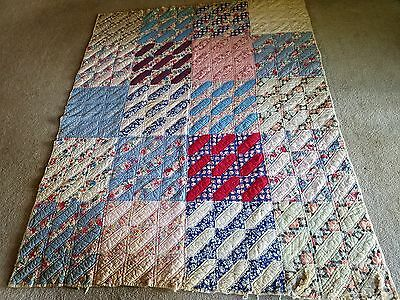 "VINTAGE Antique Quilt Cotton & Feedsack Materials  Restore OR Cutter 58"" x 73"""