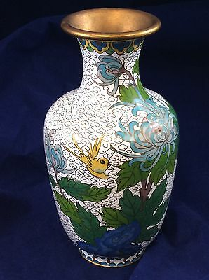 Cloisonne Enamel Vase Oriental Japanese Flowers and Birds