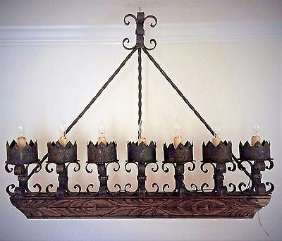 HUGE Vtg Spanish Revival Gothic Medieval Iron/Carved Wood Wall Light Sconce