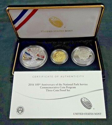 2016 100Th Anniversary National Park Proof 3 Coin Set $5 Gold,$1 Silver & 50 Ccn