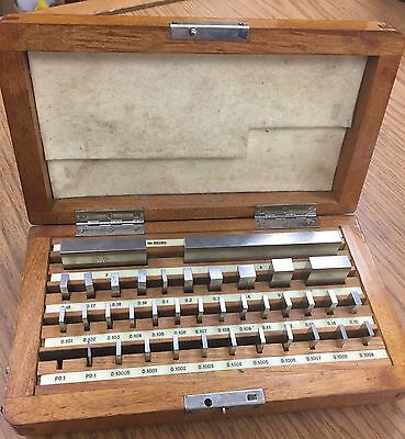 37-Piece Precision All Steel Gage Block Set with Wooden Case