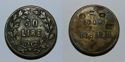 Italy : Old 50 Lire Brass Coin Weight