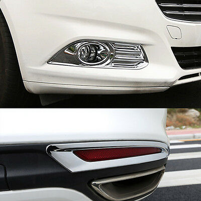 Fit For 2013-16 Ford Fusion Mondeo Chrome Front+Rear Fog Light Lamp Cover Trim