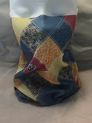 Multifunction head wrap neck tube scarf mask hat BLUE PINK CHECK cycle hike ski