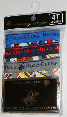 New Beverly Hills Polo Club Sports Blue Gray Toddler Boys Briefs Underwear 4T
