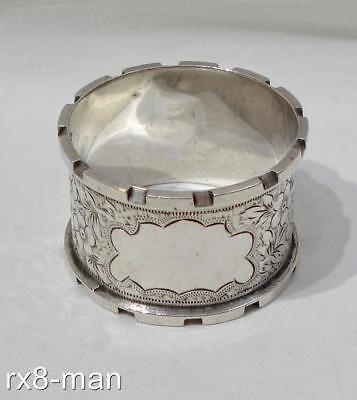 1908 ANTIQUE SUPERB SOLID STERLING SILVER BRIGHT CUT ENGRAVED NAPKIN RING 30.4g