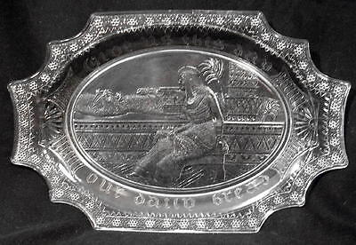 Antique Vintage Egyptian QUEEN CLEOPATRA Glass Bread Plate Tray Dish Sphinx EAPG