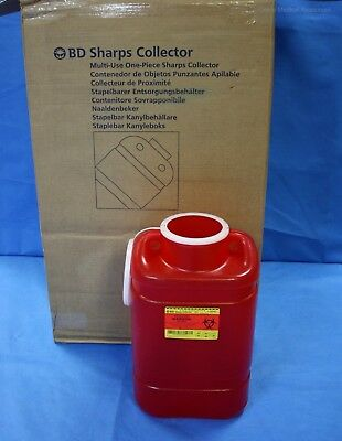 B-D 8 ea 5 Gallon Sharps Needle Container Collector Autoclavable Lid 305491