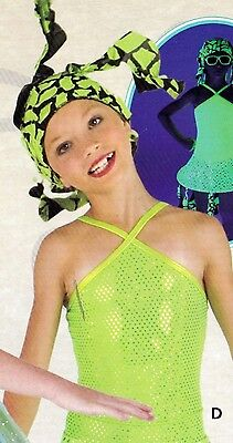 New sparkle green dance costume leotard with crazy hat small child lime