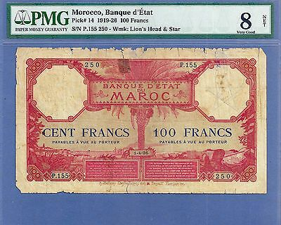 PMG-8 Very Good  Morocco 100 Francs P-14  1-4-26 SCARCE IN ANY CONDITION