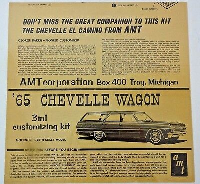 VTG - AMT 1965 65 CHEVELLE WAGON 3 in 1 Customizing Kit - INSTRUCTIONS ONLY