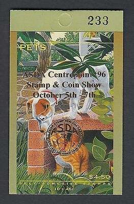 1996 $4.50 AUSTRALIAN PETS BOOKLET, Stamp Show overprint, numbered