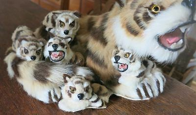 Realistic Stuffed Mother Bengel Tiger with Five Cubs Babies Glass Eyes TEETH