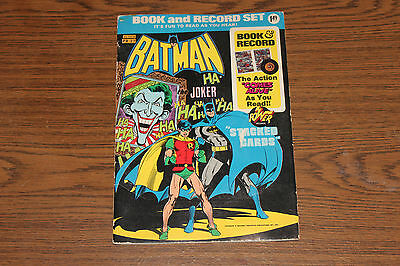 """Vintage 1975 Batman """"Stacked Cards"""" Book and Record Set, 45 RPM, Power Records"""