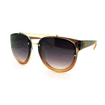 Womens Retro Hipster Sunglasses Round Flat Top Rimless Look Brown, Smoke