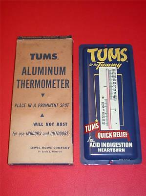 Vintage 1950's 1960's TUMS Antacid Tablets ALUMINUM THERMOMETER NOS rare N MINT