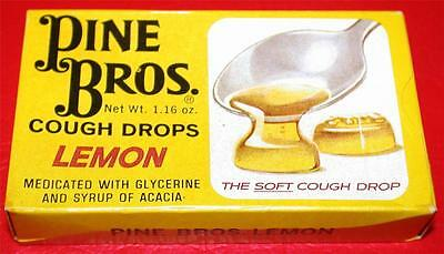 Vintage RARE 1960's PINE BROS. LEMON COUGH DROPS Full Box MIB Store Stock NOS !!
