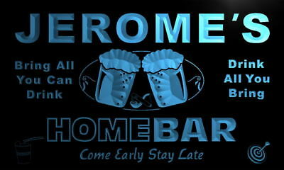 p166-b Jerome's Personalized Home Bar Beer Family Name Neon Light Sign
