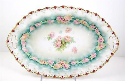 Antique Porcelain Center Bowl Pink Roses Scalloped Rim RS Prussia Style