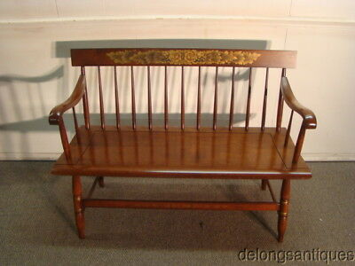46029: Hitchcock Solid Cherry Paint Decorated Bench