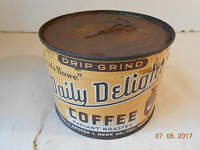Vintage Daily Delight Coffee Tin Can 1 Pound With Key