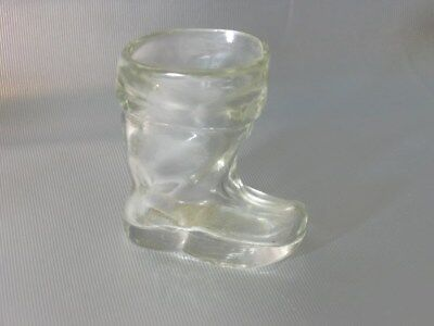 vintage SANTA CHRISTMAS BOOT SHOE CANDY CONTAINER GLASS BOTTLE