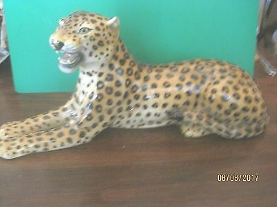 """Beautiful Large  Leopard  Figurine Made Italy  12""""   LONG  5 1/4 TALL SIGNED #"""