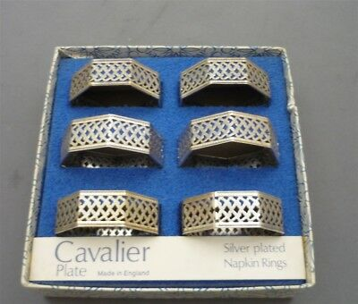 6 Napkin Rings Cavalier Silver Plated Tableware England Weave Octagon Shape
