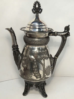 Rogers Smith Victorian Quadruple Plate East Lake Peacock Coffee Pot #1935
