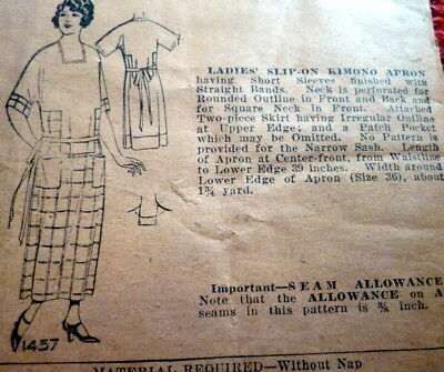 RARE VTG 1920s KIMONO APRON Pictorial Review Sewing Pattern BUST 38