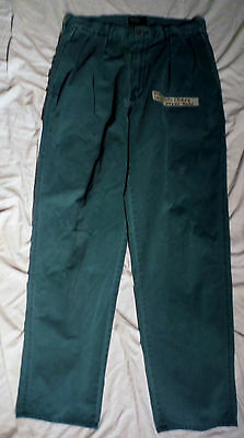 Vintage 80s Ralph Lauren Polo Green Cotton Pleated USA Made Chino Pants 34 x 32