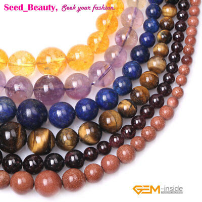 "Round Gemstone Necklace Graduated Loose Beads 15"" Materials & Color Pick"