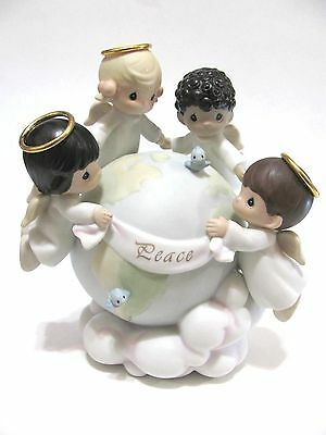 """Rare Precious Moments """"His Love Will Uphold The World"""" 539309 Angels,Globe,Peace"""