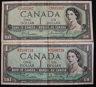 Bank of Canada 1954 PAIR One Dollar ($1.00 ) Banknotes Circulated