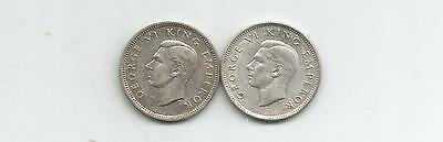 Ncoffin New Zealand King George Vi 1939 & 1940 Sixpence .500 Silver Coins