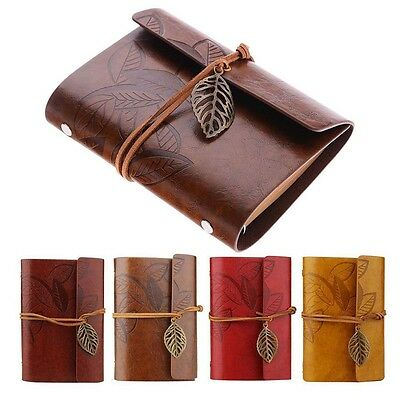 Retro Leather Vintage String Leaf Blank Diary Notebook Journal Sketchbook New BC