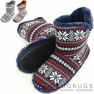 Mens Knitted Style Slipper Boots / Booties with Warm Faux Fur Lining