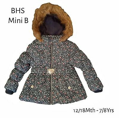 BHS Girls Coat Jacket Winter Baby Quilted Hooded Rain Warm School Fleece Lined