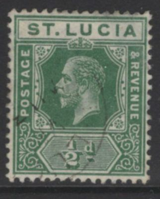 ST.LUCIA SG78 1912 ½d DEEP GREEN FINE USED