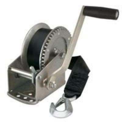 Reese 74329 Hand Winch With Strap & Hook, 1500 lbs Capacity