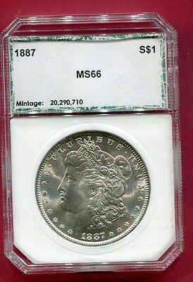 Docs 1887 Morgan Silver Dollar - OLD PCI Holder MS+++++ Stunning Coin! Free Ship