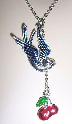 Cute BLUE SWALLOW + RED CHERRY PENDANT Silver NECKLACE Lolita/Rockabilly/Pin-up
