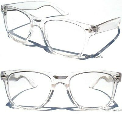 Clear Transparent Frame Clear Lens Glasses Retro 80s Hipster Nerd Style UV400
