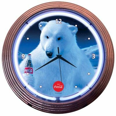 Neonetics 8CCPLR Coca-cola Polar Bear Neon Clock MAN CAVE NEW 15""