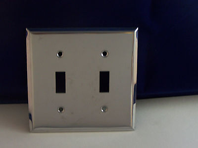 Vintage Chrome Double Switch Cover Plate with Screws