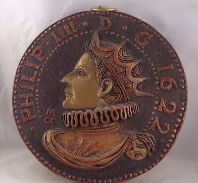 Wall Decor Philip IIII King Spain 1622 Chalkware Coin Medallion 14 inch height